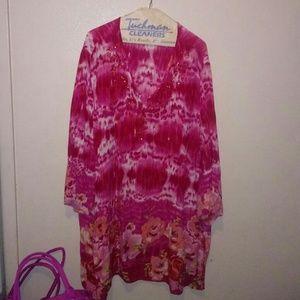 Long pink tye dye shirt